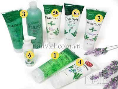 Các sản phẩm đã được sử dụng cho bài thực hành chăm sóc massage chân ngày hôm nay