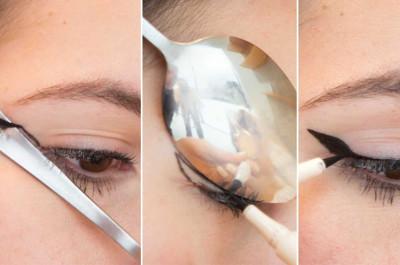 Kẻ eyeliner đơn giản bằng thìa